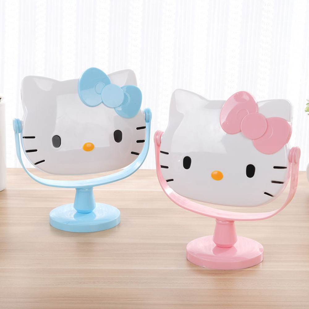 Hello Kitty Make Up Mirror Desk Mirror Spinning Cartoon Handle