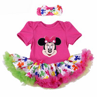 Newborn Baby Girl Clothes Christmas Mickey Minnie Superman Tutu Dress Children Clothing 2PCS Headband Infants Outfit Costumes