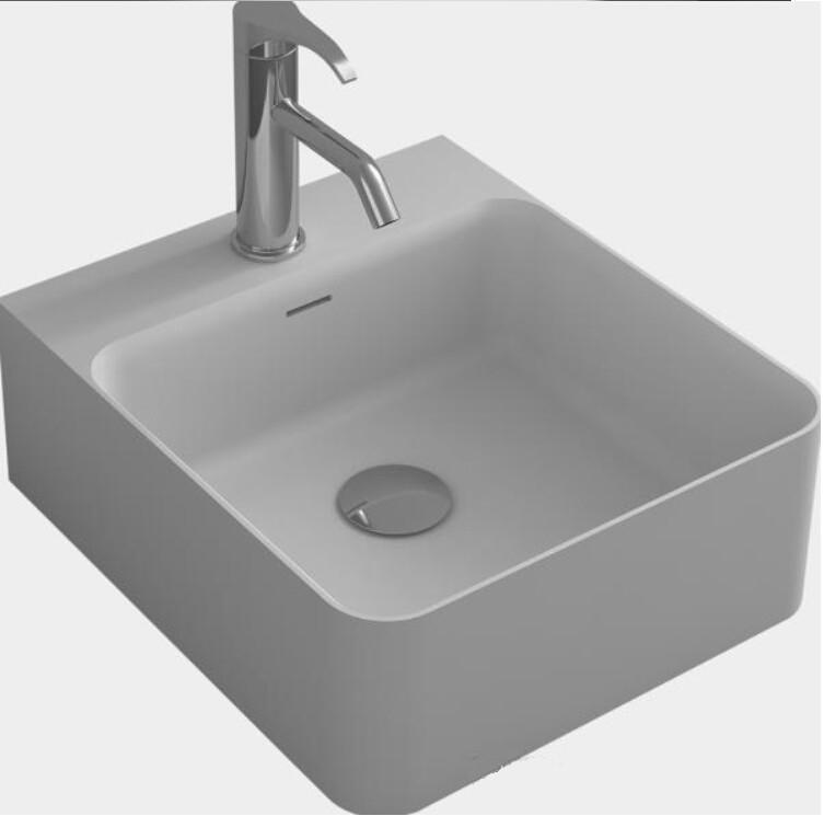 corain rectangular sobre encimera fregadero del recipiente mate superficie slida piedra agujero lavabo