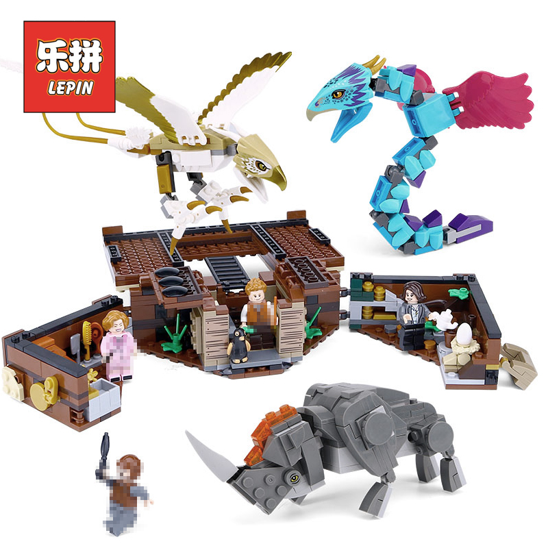 Lepin 16059 Harry Movie Potter Fantastic Beasts Newt's Case of Magical Creatures 75952 Building Blocks Legoinglys Toys Gift in stock 16059 harry movie potter legoingp 75952 newt s case of magical creatrues set model building blocks kids toys christmas