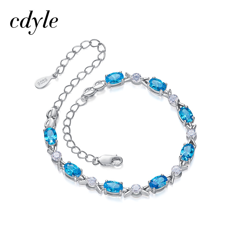Cdyle Brand Smurf Crystal 925 Sterling Silver Chain Bracelets & Bangles For Women Blue Stone Bracelets Pulseras Mujer Party Gift