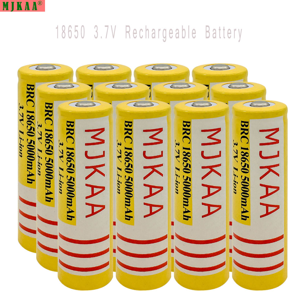 MJKAA 12pcs 18650 Rechargeable Battery(not AA Battery) 3.7V 5000mAh Lithium Li-ion Battery Bateria for Flashlight Headlamp