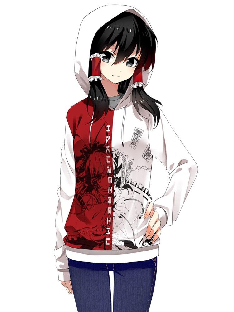 Anime cosplay hoodie touhou project 하쿠 레이 레이 무 후드 티셔츠 남성 여성 캐주얼 스포츠웨어 코트 가을 봄 화이트 탑스-에서후드티 & 스웨터부터 남성 의류 의  그룹 1