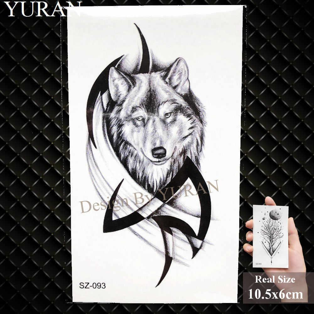 YURAN черный пушки винтовки временные татуировки наклейки Для женщин Снайпер Водонепроницаемый татуировки АК АКМ M4 солдат Для мужчин наручные поддельные татуировки Тотем волка