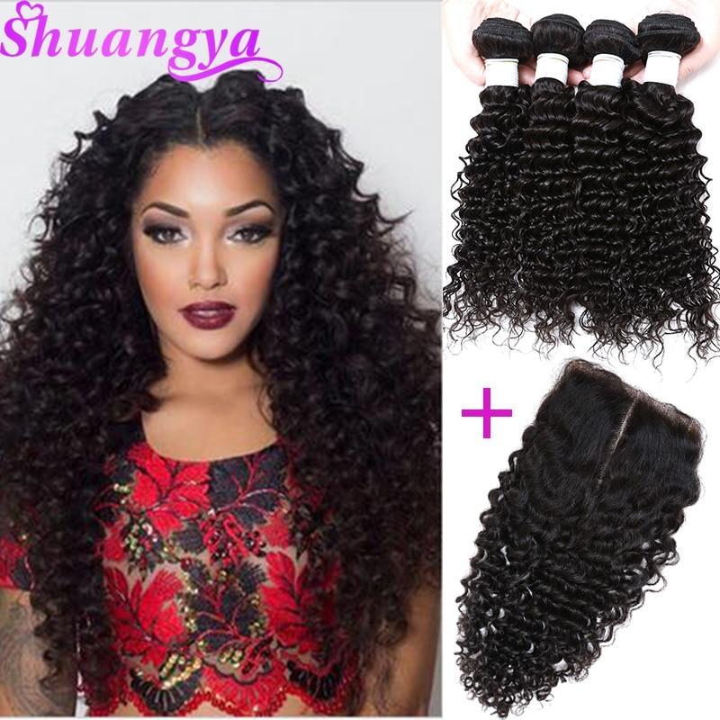 Brasilianska Deep Wave Hair 3/4 Bundles With Closure Middle Part - Mänskligt hår (svart)