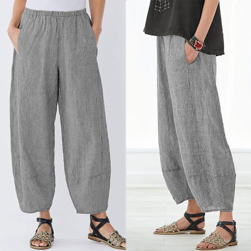 ZANZEA 2021 Vintage Striped Trousers Women's Pants Elastic Waist Lantern Pant Female Streetwear Woman Pantalon Turnip Pant S-5XL