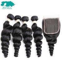 Allrun Brazilian Human Hair Loose Wave Bundles 4 Bundles With Closure Loose Deep Wave Remy Human