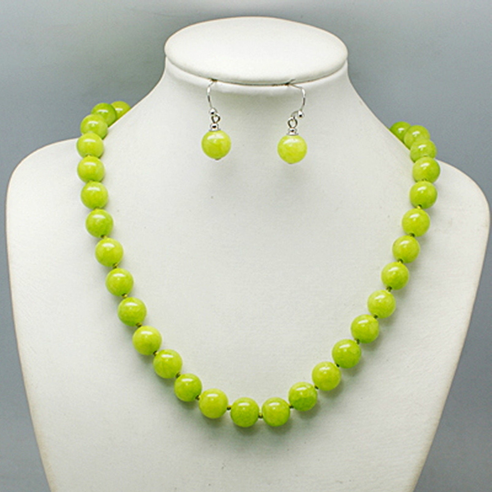 1811 bead necklace set magnetic clasp, lime green, orange, aqua, navy - Balouli