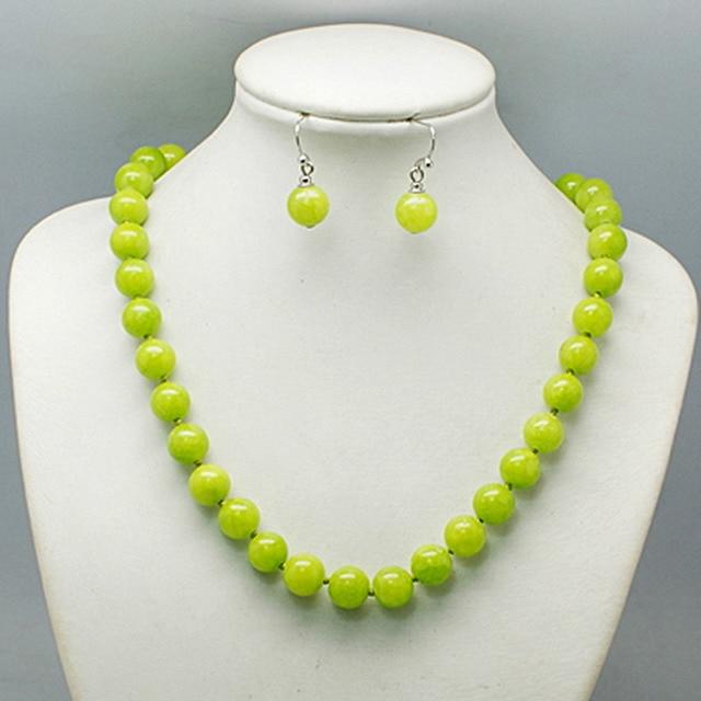 1811  bead necklace set magnetic clasp, lime green, orange, aqua, navy - Balouli