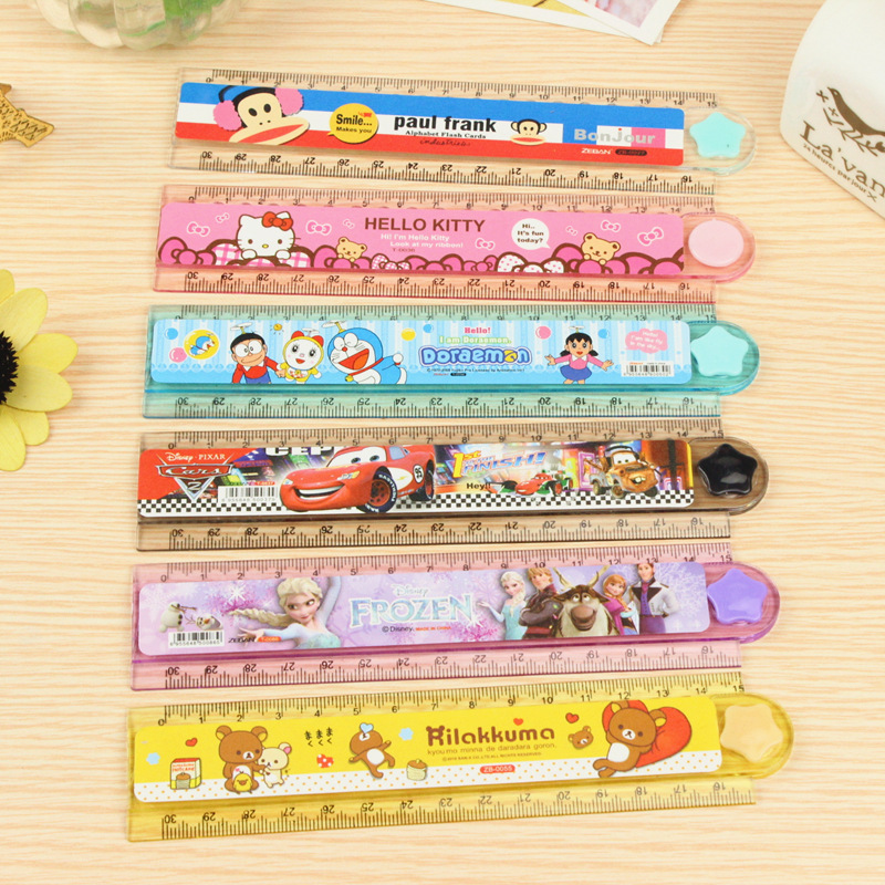 3 Pcs / Lot Children's Multi-function Cartoon Plastic Ruler Primary School Students 30CM Folding Ruler Wave Foot Painting Ruler