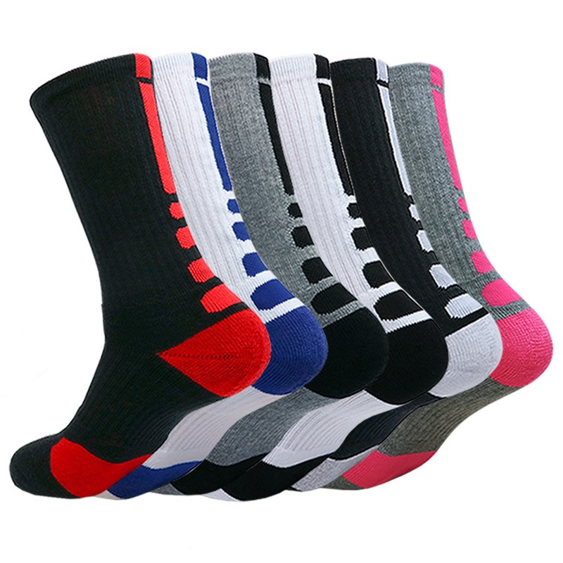 New High Quality Men's Compression Cycling Socks Elite Basketball Socks Men Cotton Towel Bottom Outdoor Sports Men's Socks Hot
