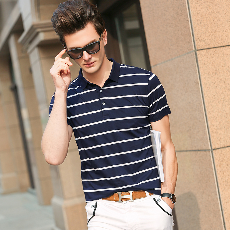 2019 New Fashion Brand   Polo   Shirts Men Mercerized Cotton Summer Short Sleeve Slim Fit Striped Poloshirt Casual Mens Clothing