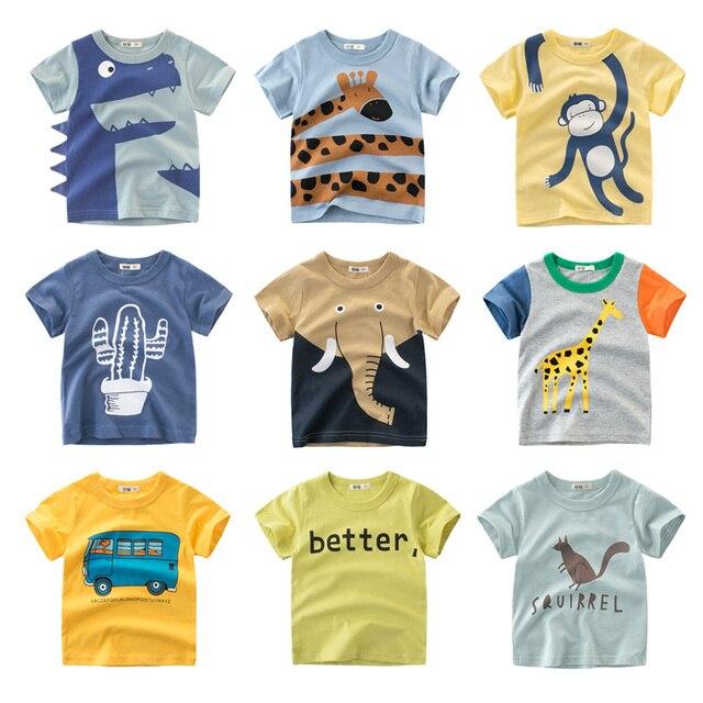 הדפסת קריקטורה תינוק בני דינוזאור T חולצה לקיץ תינוקות ילדים בני בנות האריה חולצות בגדי כותנה פעוט מכתב חולצות
