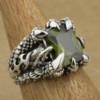 Huge 925 Sterling Silver Dragon Claw Black Olive CZ Mens Biker Rocker Punk Ring 8T202 US Size 7.5~14