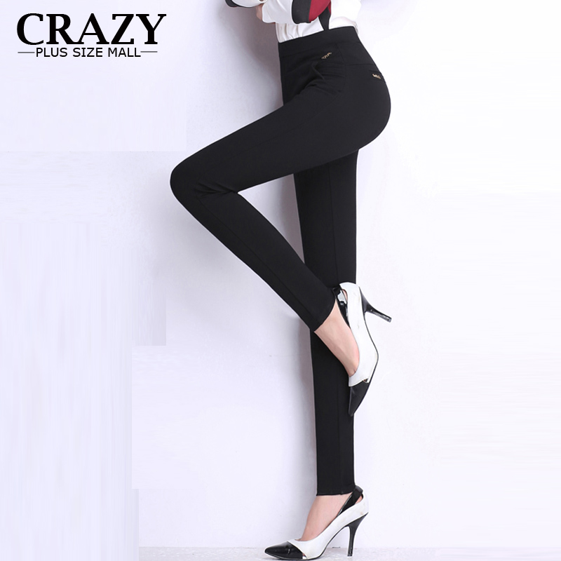 2016 M 6XL Fit 150kg Women Long Plus Size Skinny Pants High Elastic Pencil Pants Black