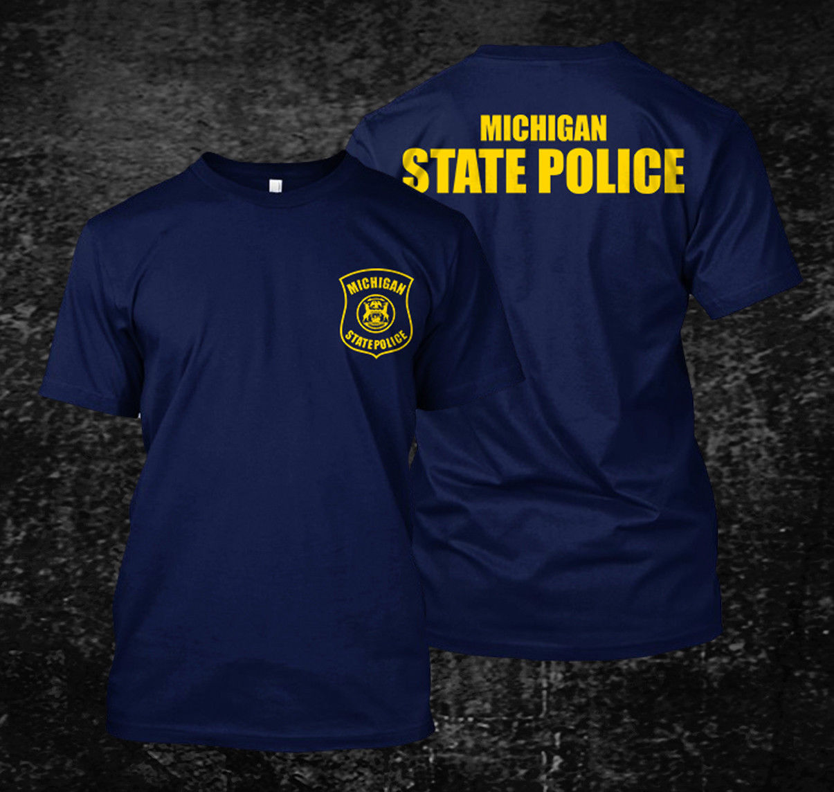 Loose Black Men Tshirts Homme Tees Michigan Police State Logo Custom