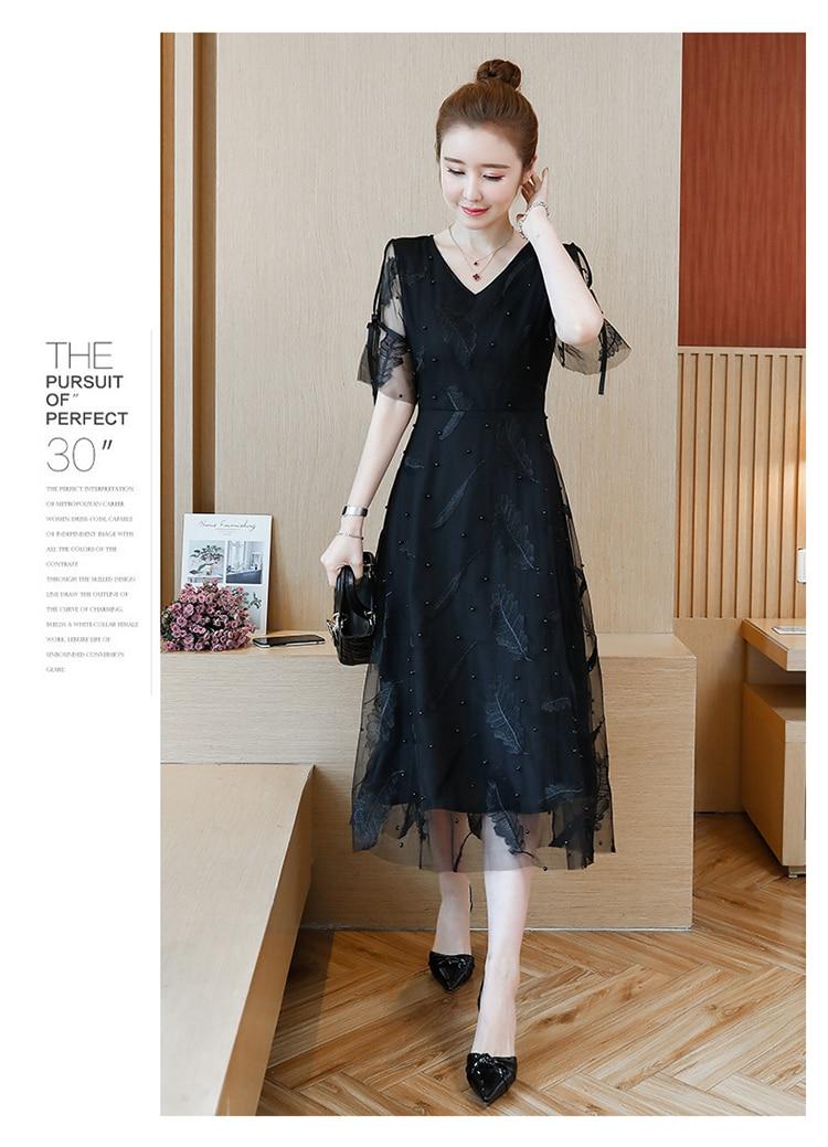 womens woman 2019 summer v-neck mesh print beaded plus size L-5XL XXL XXXL 3XL XXXXL 4XL slim Casual party Cocktail midi dress 42