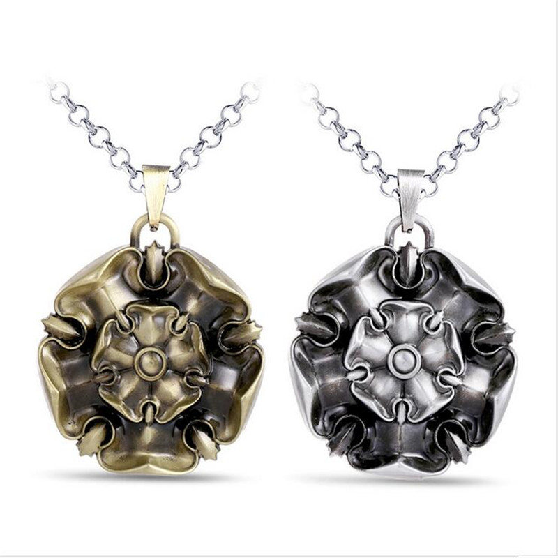 ORP Game of Thrones House Tyrell Family badg Gold Rose necklaces A song of lce and fire 3D stereoscopic Rose pendant necklace
