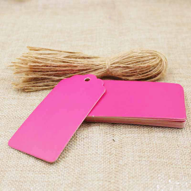 9.5*4.50CM hotpink paper cardboard luggage note tag jewelry products /gift blank label display tag 200pcs+200hemp string