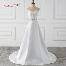 NIXUANYUAN Новое Элегантное милое вышитое бисером невеста, свадебное платье трапециевидной формы длинное свадебное платье с поясом vestido de noiva