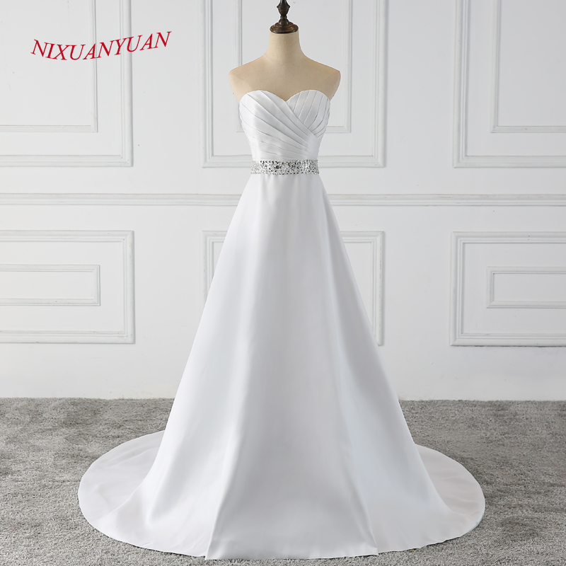 NIXUANYUAN 2018 New Elegant Sweetheart Beaded Bride Wedding Gown A Line Long Wedding Dress 2018 Stain Vestido De Noiva With Sash