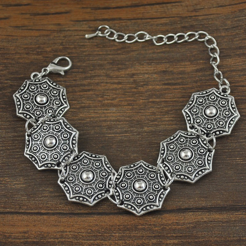 Bohemian Silver Antalya Carving Bracelet Statement Boho Coachella Turkish Jewelry Tribal Ethnic Jewelry for women