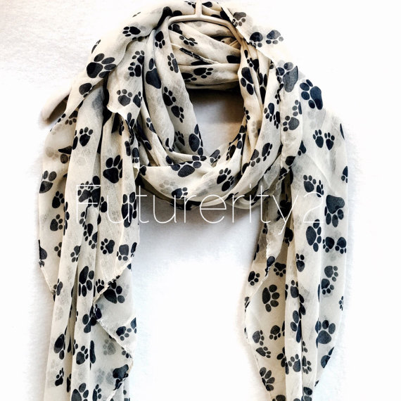 Nuevo Animal Paw Prints Off White Spring & Summer Autumn Scarf Gift - Accesorios para la ropa
