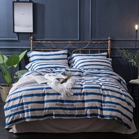 Blue Stripes Bedding Sets 100 Egyptian Cotton Queen King Size Brief Duvet Cover Set Modern Stripes