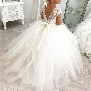 Princess Lace Ball Gown Bling Beaded Flower Girl Dress Girls Pageant Gowns New Bow First Communion Dresses For Weddi
