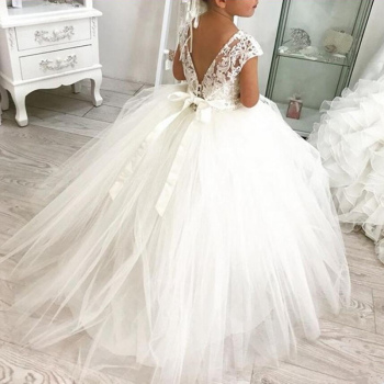 Princess Lace Ball Gown Bling Beaded Flower Girl Dress Girls Pageant Gowns New  Bow First Communion Dresses For Weddi 2018 light blue princess sheer lace flower girl dresses pageant prom baby party frocks for girls first communion puffy gowns
