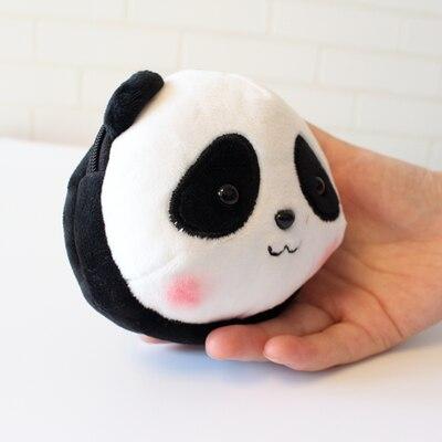Кошелек для монет голова панды брелоки милые животные плюшевые женские сумки очаровательные аксессуары Подвеска мини кошелек брелок этнический подарок - Цвет: Черный