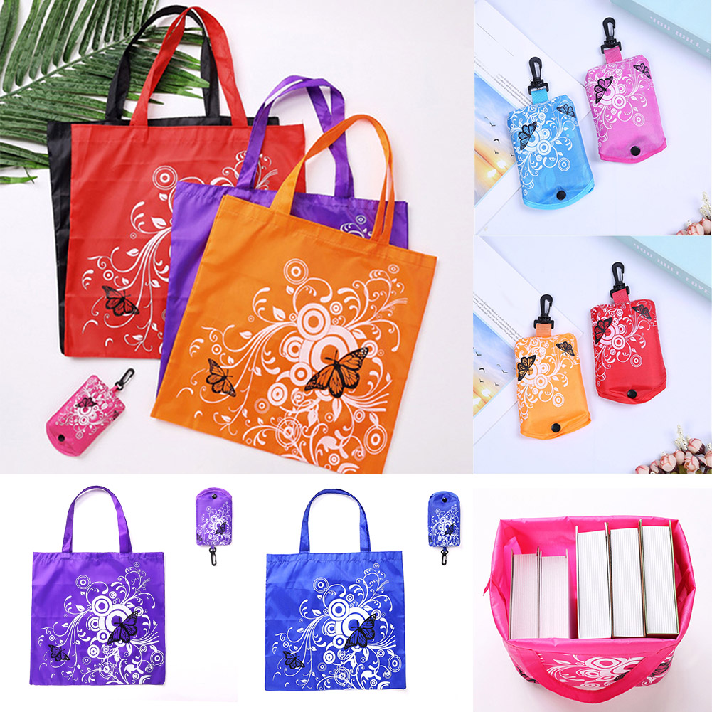 Hot Sale Foldable Butterfly Pocket Shopping Bag Tool Eco Folding Shoulder Handle Bag Travel Grocery Reusable Tote Pouch