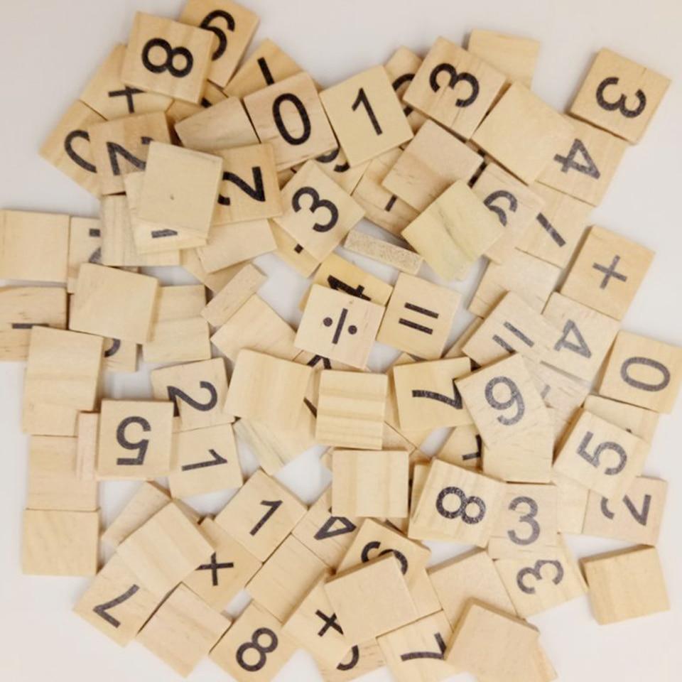 Tuile En Bois Nom 100 pièces alphabet carrelage complet en bois numéro scrapbooking artisanat  mot nom tage en bois ensemble de lettres