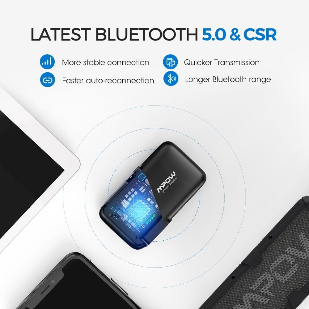 VicTsing Bluetooth Receiver 5.0 Car Adapter Kit CSR Bluetooth Receiver Transmitter 16 Hours Aux Adapter Audio Hands-Free Calls   (5)