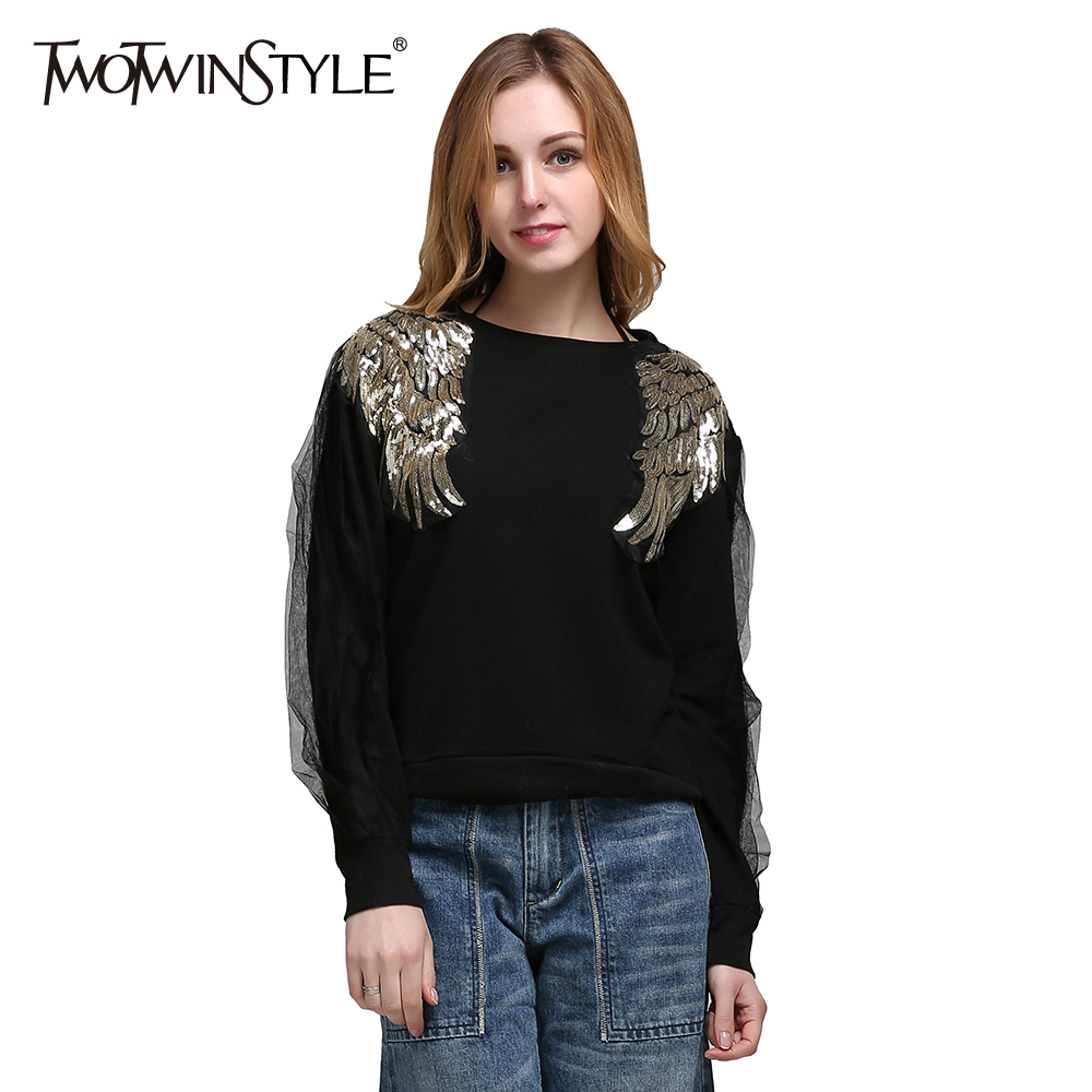 TWOTWINSTYLE Black Pullover Sweater For Women Winter Female Knitted Tops Long Sleeve Sequins Wing Knitting Clothes Korean 2020