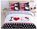 Novo 2015 Hot Sale 4 PCS conjuntos de cama crianças dos desenhos animados jogo de cama rosa olá Kitty estilo Twin / Full / Queen Size capa de edredão lençol