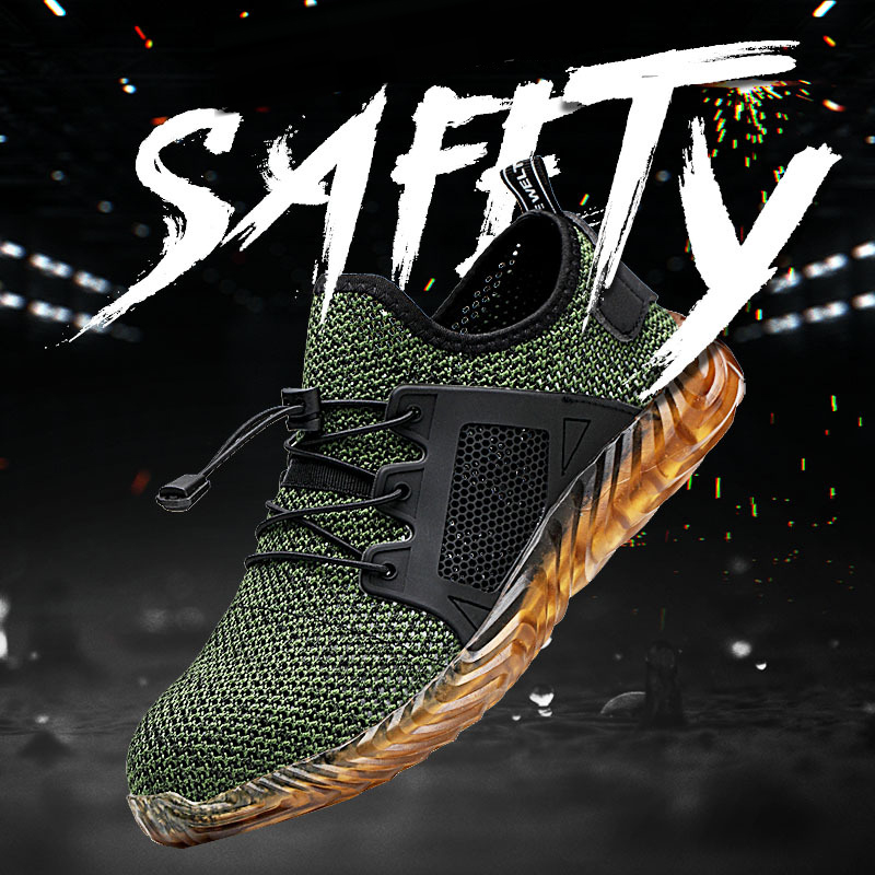 Mens Safety Work Shoes Light Weight Steel Toe Work Boots Male Anti-smashing Construction Safety Sneakers Plus Size 35-48