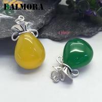 BALMORA 1 Piece Authentic 990 Pure Silver Green Yellow Cute Pendants Women Lover Accessories Gift Retro
