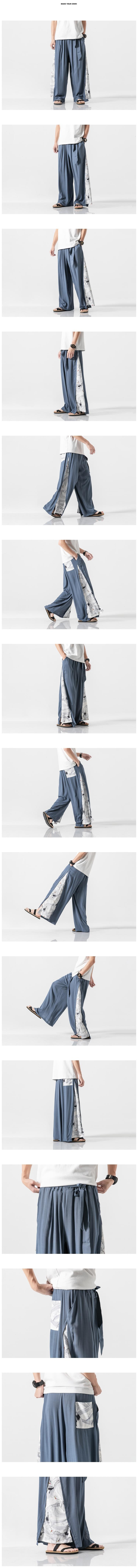 Sinicism Store 2020 Summer Chinese Style Cotton Pants Mens Patchwork Vintage Loose Pants Male Wide Leg Pants 24