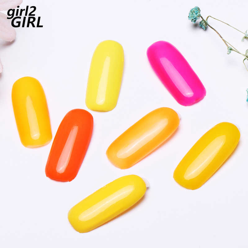 Girl2girl 8 мл личная гигиена гель для ногтей лак для ногтей маникюр Гель-лак для ногтей желтый оранжевый набор