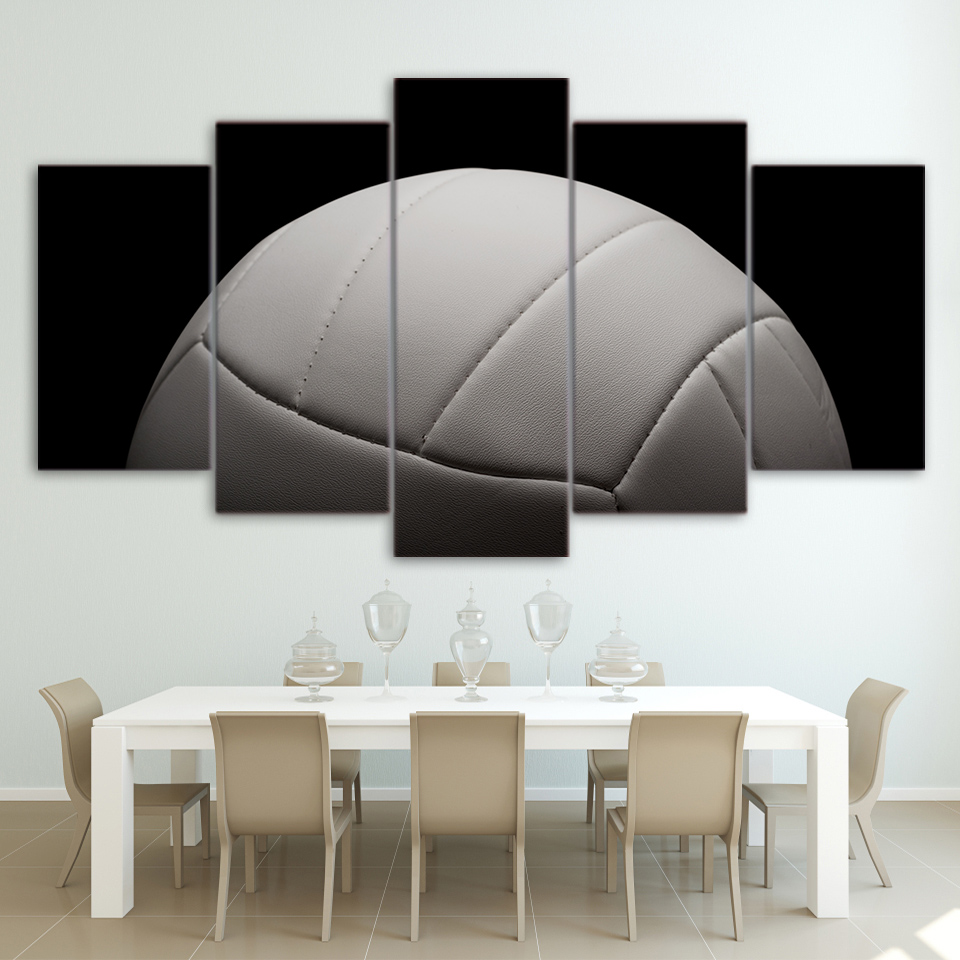 Wall Art Pictures Modern Home Decor Living Room HD Prints Photo 5 Pieces Gym Poster Sports Gray Volleyball Canvas Painting Frame