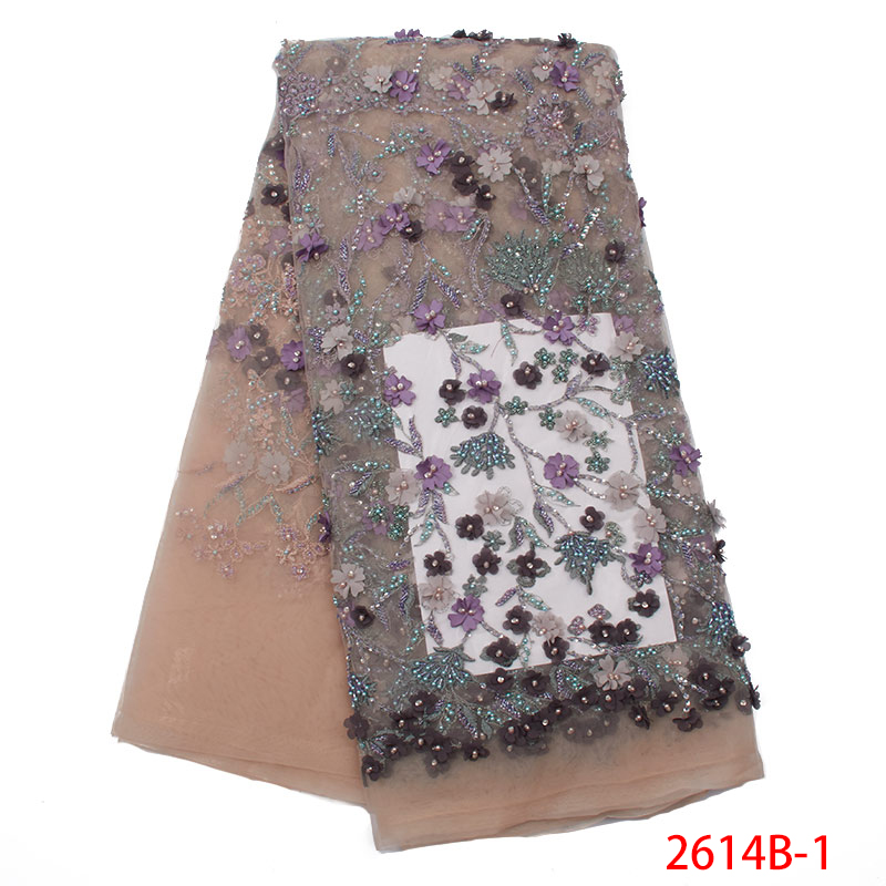 3d Lace Fabric Flowers 2019 New Style French Net Tulle Lace Fabrics Hot Sale Applique With Beads For Nigerian Wedding KS2614B-1