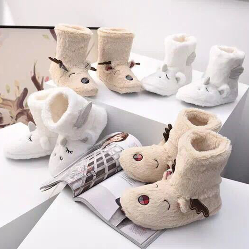 Unicorn Slippers Kids Flip Flops Girl Boy Elk Funny Shoes Woman Winter Warm Cotton Animal Plush Fur Slippers Child Home Shoes 2017 totoro plush slippers with leaf pantoufle femme women shoes woman house animal warm big animal woman funny adult slippers page 2
