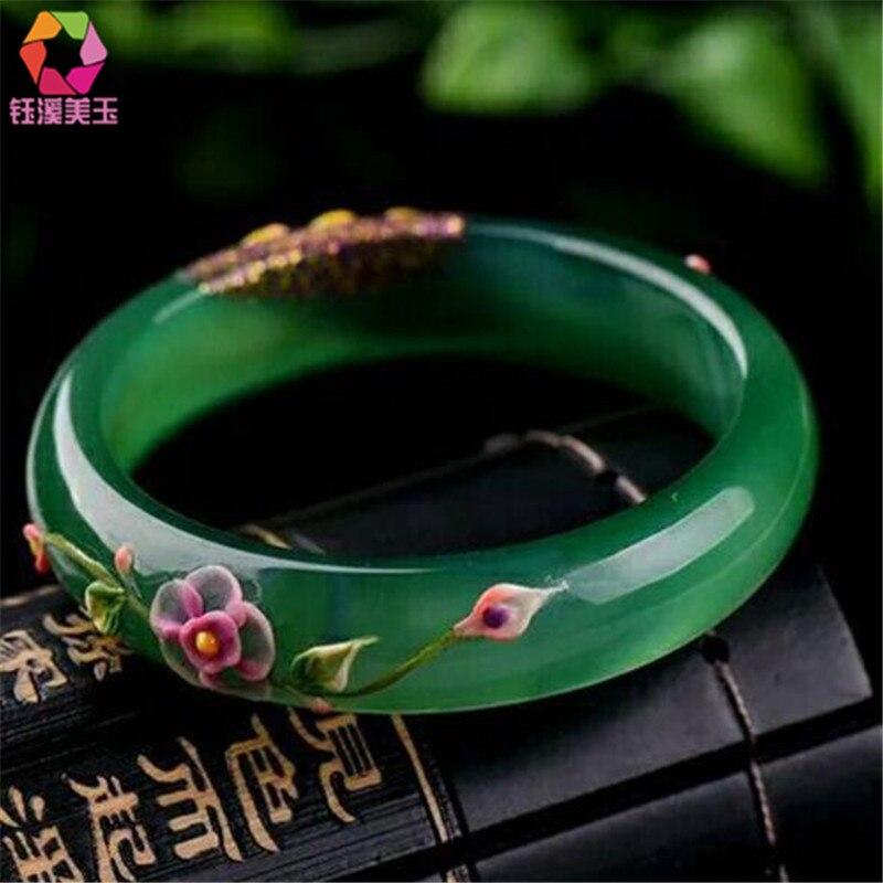 Натуральный зеленый браслеты цветной рисунок Павлин и цветок браслеты подарок для женщин нефриты ювелирные изделия