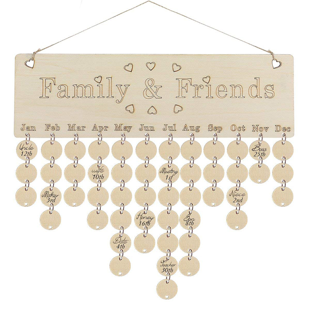 US $505 34 OFFDIY Wooden Birthday Calendar Family Celebrations Wall  Calendar Write Special Dates Planner Board Wood Grain Hanging Decor  Gifts-in