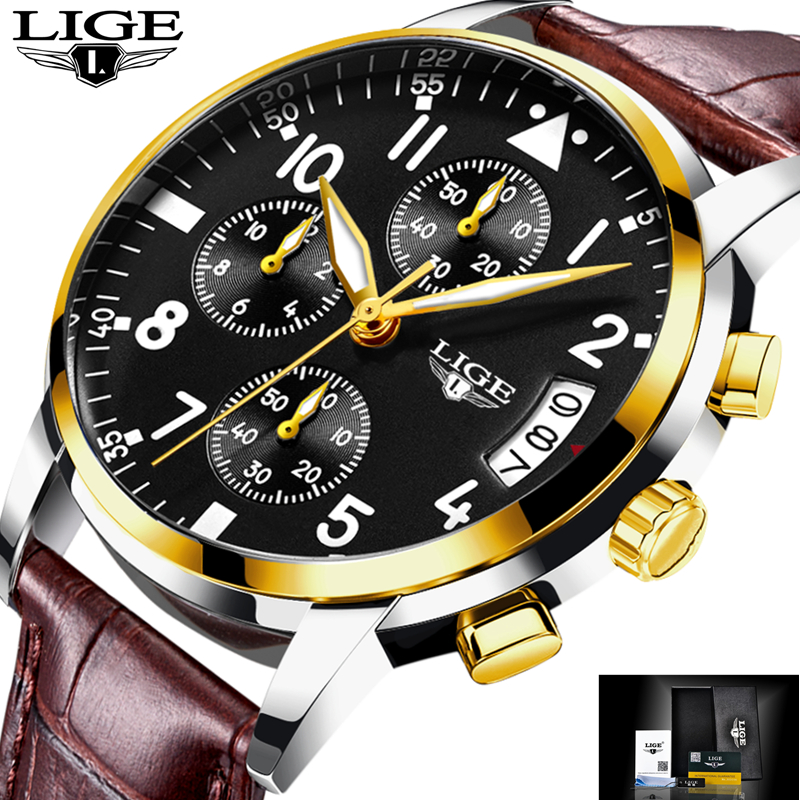 Watch Men Sport Quartz Fashion Leather Clock Mens Watches Top Brand LIGE Luxury Waterproof Business Watch Man Relogio Masculino lige mens watches top brand luxury man fashion business quartz watch men sport full steel waterproof clock erkek kol saati box