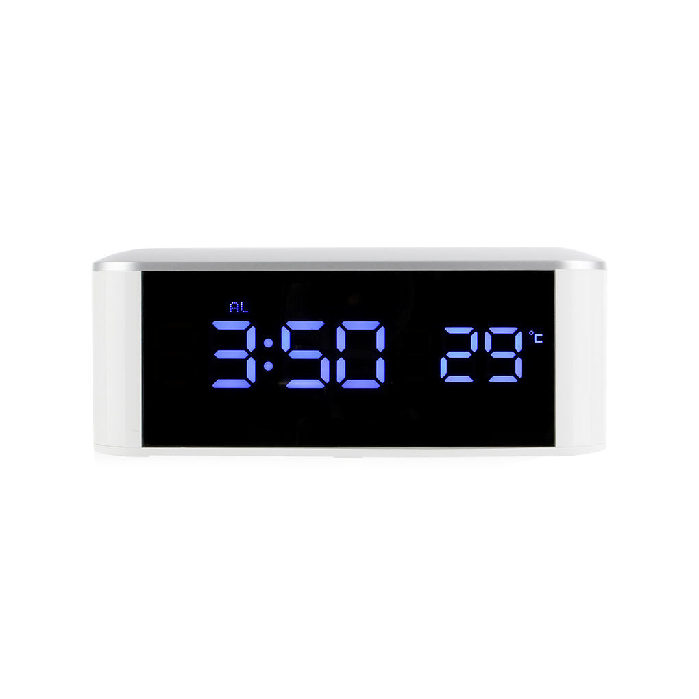 Household LED Digital Clock Thermometer Alarm clock Table Home Desk with Mirror Timer Bell Temperature Calendar USB Function