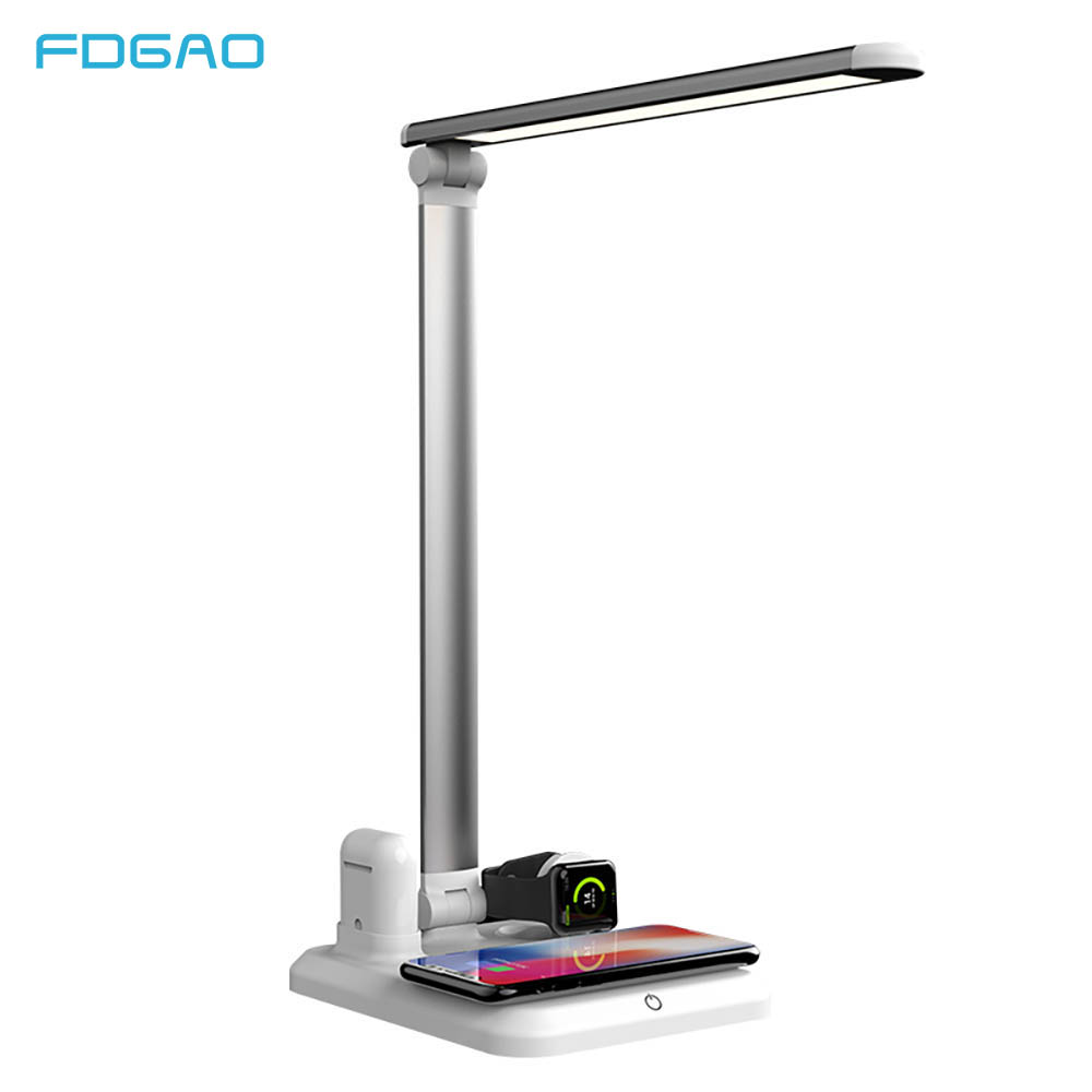 FDGAO LED Lamp Light Table Desk Qi Wireless Charger for iPhone 8 X XS XR Apple Watch 4 3 2 Airpods USB Fast Charging Desktop PadFDGAO LED Lamp Light Table Desk Qi Wireless Charger for iPhone 8 X XS XR Apple Watch 4 3 2 Airpods USB Fast Charging Desktop Pad