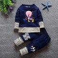 2016 otoño ropa del bebé fija al bebé moda de manga larga traje camisa y pantalones conjunto ropa ropa para el bebé niño chico