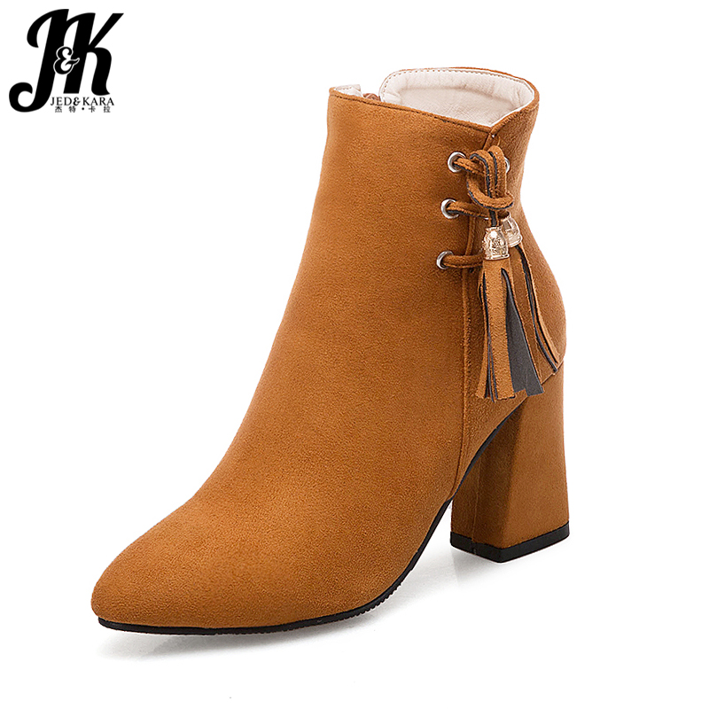 9839ae949 JK На высоких толстых каблуках Женские ботильоны с перекрестной шнуровкой;  обувь с острым носом 2018 Новый кисточкой Женская обувь супер больш.